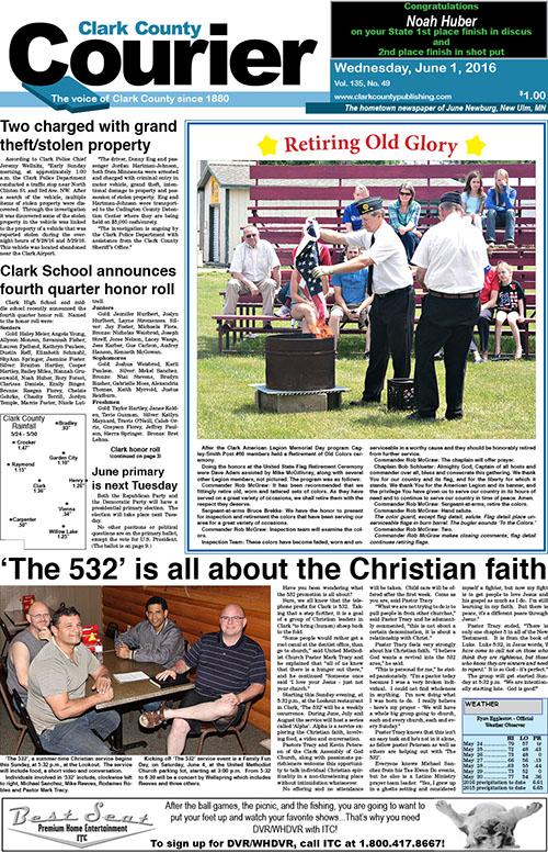 6-1 Clark Courier front page